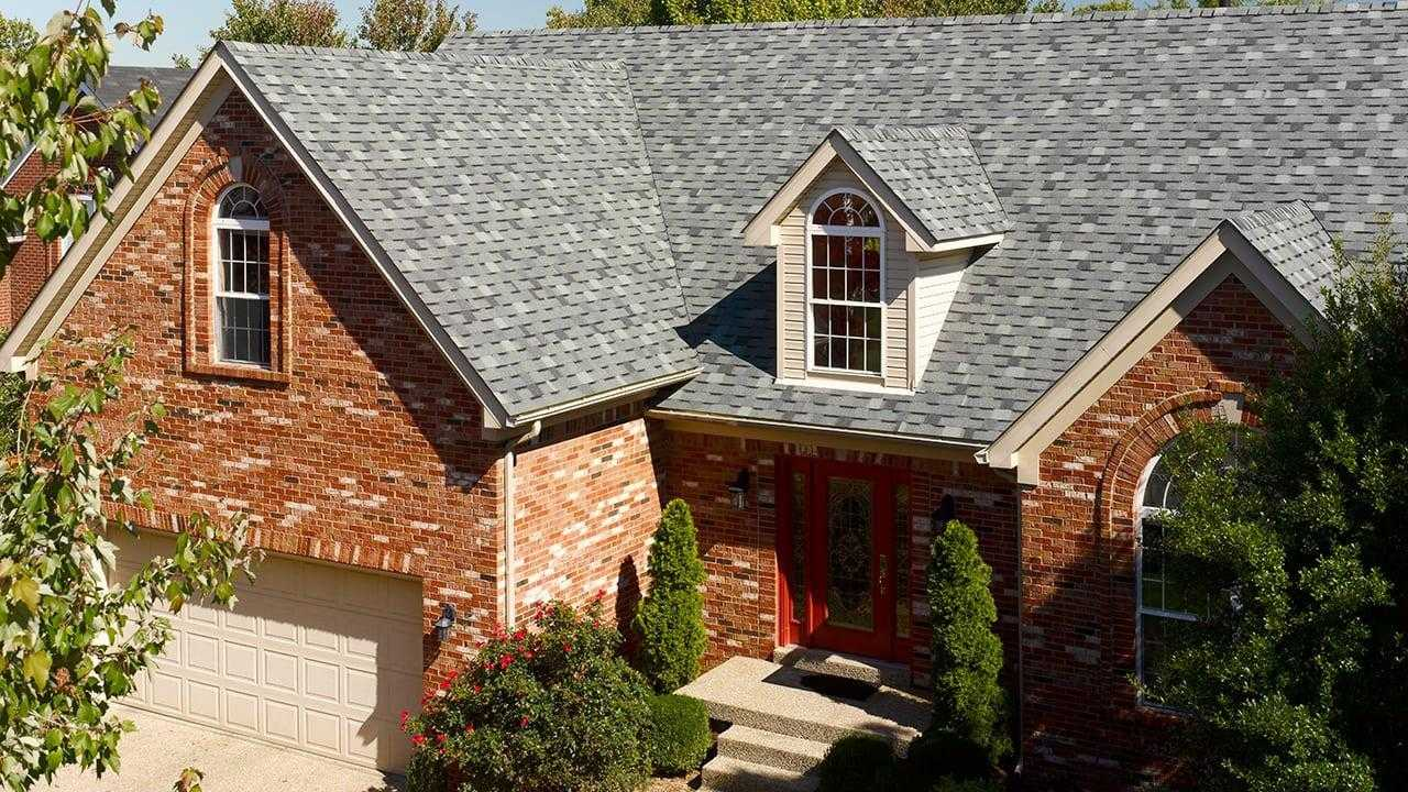red brick house roofing